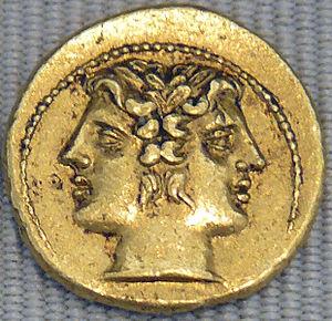 Français : Demi-statère de Rome, tête de Janus...