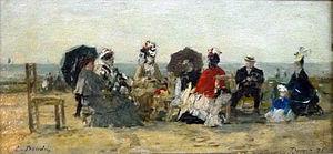 Personnages sur la plage de Trouville