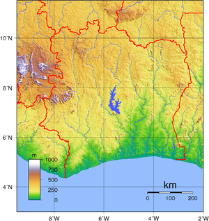 Topographic map of Ivory Coast. Created with G...