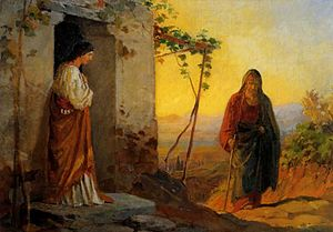 Maria, sister of Lazarus, meets Jesus who is g...