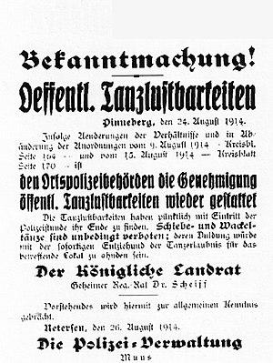 Bekanntmachung Aufhebung des Tanzverbotes in den Uetersener Nachrichten im Dezember 1914 .