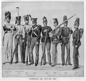 Deutsch: Uniformen der Grenadierbrigade Sachse...