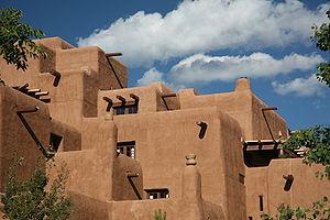 Adobe pueblo revival style architecture in San...