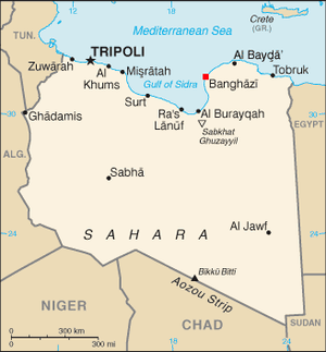 Location of Benghazi within Libya.