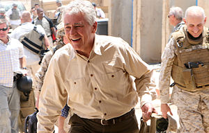 Sen. Chuck Hagel (R-Neb.) arrives at Camp Rama...