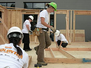 Habitat For Humanity volunteers constructing a...