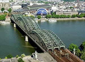 The Hohenzollernbrücke crossing the Rhein rive...
