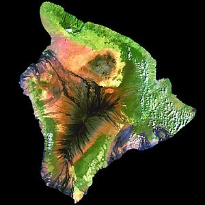 This simulated true-color image of the island ...