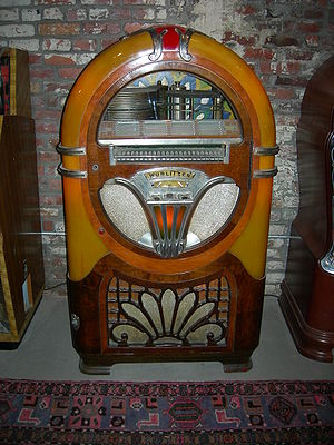 A mid-20th-century 24-disc Wurlitzer jukebox. ...