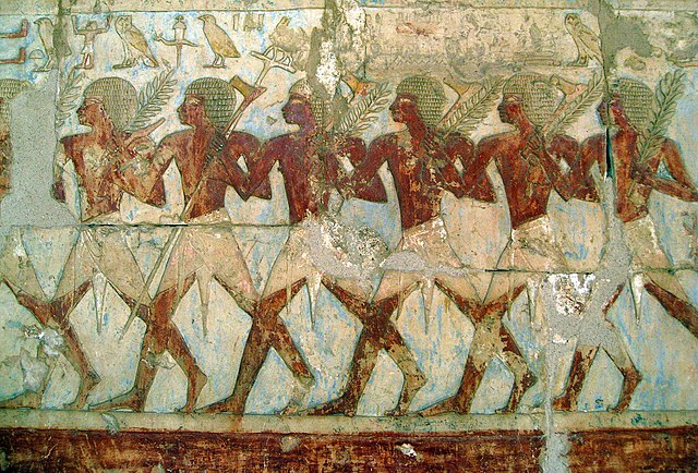 Frankincense and Myrrh. This is a fine relief of members of Hatshepsut's trading expedition to the mysterious 'Land of Punt' from this pharaoh's elegant mortuary temple at Deir El-Bahri. In this scene, Egyptian soldiers bear tree branches and axes.