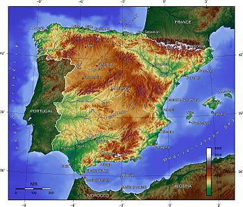 Spain topography