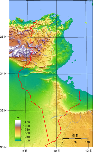 Topographic map of Tunisia. Created with GMT f...
