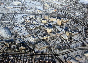 Aerial view of the University of Calgary groun...