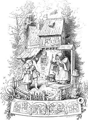 Deutsch: Hänsel und Gretel vor dem Hexenhaus