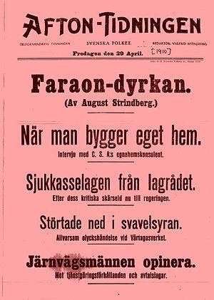 Löpsedel för Afton-Tidningen 29 april 1910, då...