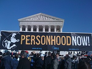 English: Personhood NOW banner flies in front ...