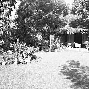 Nederlands: negatief. Tuin achter het huis van...