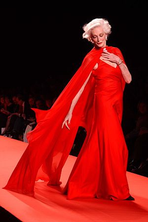 Model Carmen Dell'Orefice in the 2005 Red Dres...