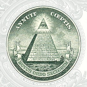 Pyramid with the all-seeing eye on the back si...