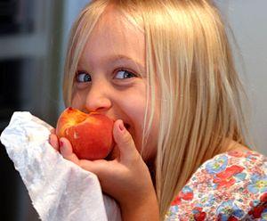 Eating a Georgia peach