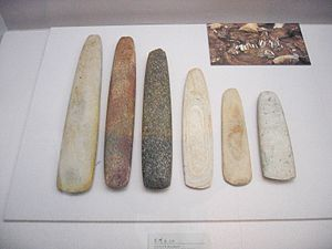Neolithic axes found in Korea.