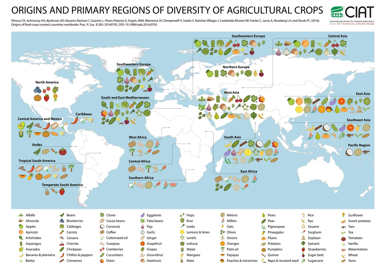 File Origins And Primary Regions Of Diversity Of Selected Major Agricultural Crops Worldwide