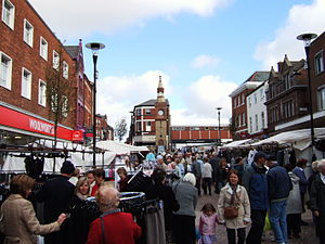 Market day in Ormskirk, Lancashire, England. T...