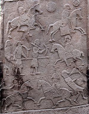 Pictish Stone at Aberlemno Church Yard - Battle Scene Detail.jpg
