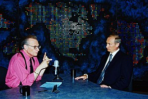 English: NEW YORK. Vladimir Putin interviewed by Larry King, an anchorman with the US CNN TV Channel. Русский: НЬЮ-ЙОРК. Интервью ведущему американского телеканала Си-эн-эн Ларри Кингу.