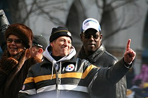 English: Dick Lebeau with Mr. and Mrs. John Mi...