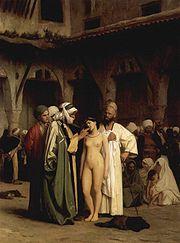 Mercadores de escravos analisando os dentes da escrava, por Jean-Léon Gérôme