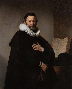 1633 portrait of Johannes Wtenbogaert by Rembr...