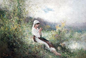 Nicolae Grigorescu - Peasant Woman Sitting in ...