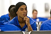 Ronaldinho on the road with the national squad.