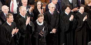 Six of the nine justices of the attend the dur...