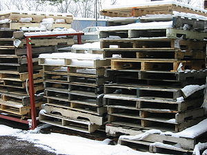 A tidy stack of pallets somewhere on Universit...