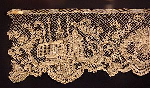 17th century lace fragment from Italy, Honolul...