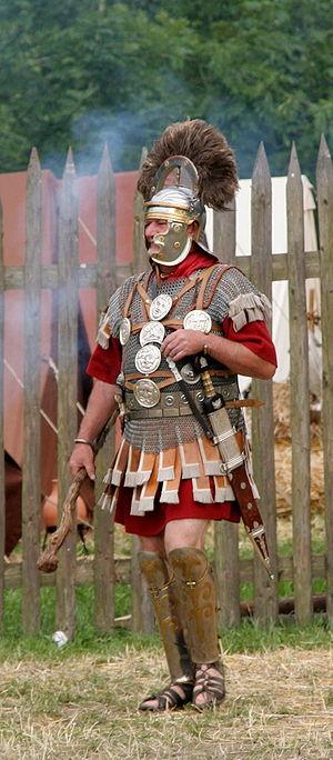 Historical re-enactor wearing replica equipmen...