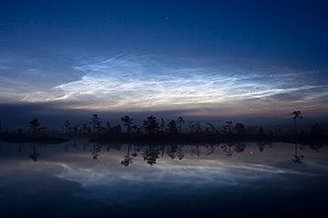 Noctilucent clouds, Kuresoo bog, Soomaa Nation...