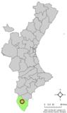 Localización de Rafal respecto a la Comunidad Valenciana