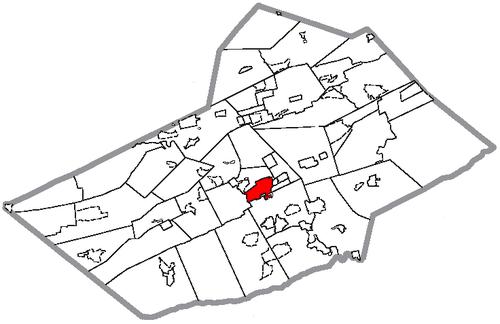 Location of Pottsville in Schuylkill County, Pennsylvania.