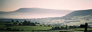 Pendle Hill, in Lancashire, England. To the ri...