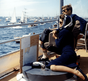 Watching the America's Cup Race. Mrs. Kennedy,...