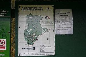 English: Ski trails at Clashindarroch Forest.