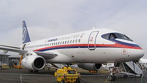 97005 a Sukhoi Superjet 100 at the 2010 Farnbo...
