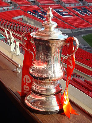The FA Cup Trophy at Wembley Stadium