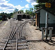 A three-way stub switch at Sheepscot station on the Wiscasset, Waterville and Farmington Railway