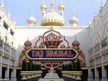 The entrance of the Trump Taj Mahal, a casino in Atlantic City. It has motifs evocative of the Taj Mahal in India.