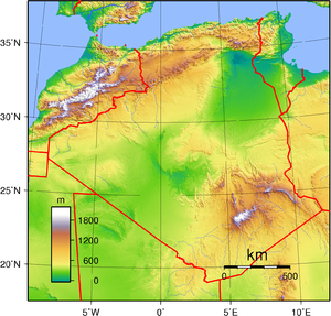 Topographic map of Algeria. Created with GMT f...