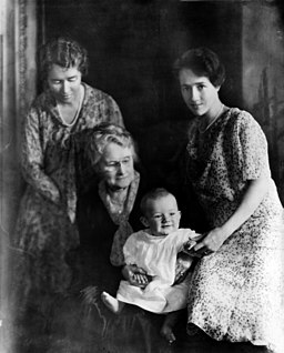 Anne Lindbergh and son Charles Jr, mother, and grandmother cph.3b19303u